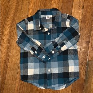 Shades of blue plaid button down woven flannel